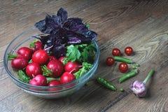 As folhas recentemente escolhidas autênticas do alho e da manjericão do jardim colocam, em um escorredor, ao lado dos tomates dos fotografia de stock