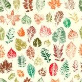 As folhas são silhuetas coloridas das árvores e dos arbustos Pancadinha sem emenda Foto de Stock Royalty Free