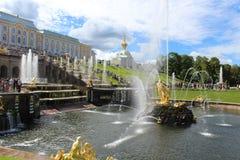 As fontes de Peterhof Imagem de Stock