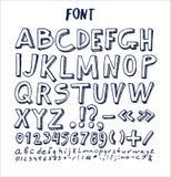 As fontes entregam a pena escrita alfabeto tirada da tinta dos elementos ilustração royalty free