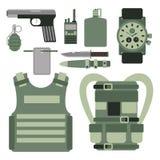As forças ajustadas da armadura militar dos símbolos das armas da arma projetam e vetor americano do sinal da camuflagem da marin ilustração stock