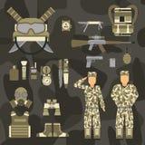 As forças ajustadas do homem militar da armadura dos símbolos das armas da arma do caráter projetam e sinal americano da camuflag ilustração do vetor