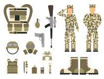 As forças ajustadas do homem militar da armadura dos símbolos das armas da arma do caráter projetam e sinal americano da camuflag ilustração royalty free