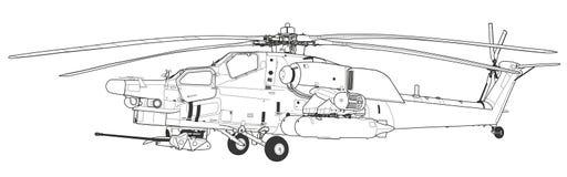 As forças armadas de dano do MI 28 atacam o helicóptero de combate Fotos de Stock Royalty Free