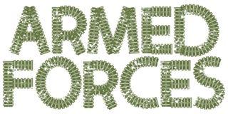 As forças armadas text com as letras feitas de trilhas do tanque Imagens de Stock Royalty Free