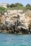 As formações de rocha bonitas no Algarve costeiam, Portugal Foto de Stock