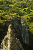 As formações de rocha naturais em Jelasnica gorge na tarde ensolarada do outono imagem de stock