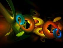 as formas 3D abstratas coloridas rendem Backgroun Fotos de Stock