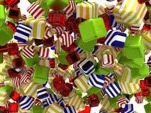 As formas cúbicas abstratas coloridas ou os bombons isolaram-se Foto de Stock