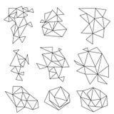 As formas geométricas abstratas do vetor ajustaram-se no fundo branco Ilustração Stock