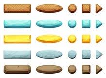 As formas horizontais, do círculo, do triângulo e do quadrado dos desenhos animados abotoam-se Ilustração para projetos de design ilustração stock