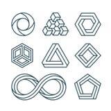 As formas impossíveis diluem a linha ícones mínimos do vetor ajustados ilustração do vetor