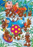 As formigas arrastam as decorações do Natal Imagem de Stock