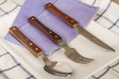 As forquilhas e as colheres e as facas colocaram em uma placa Imagem de Stock