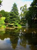 As fotos com paisagem decorativa da paisagem projetam, o jardim botânico o mais velho do ` s de Europa na cidade polonesa de Wroc Foto de Stock