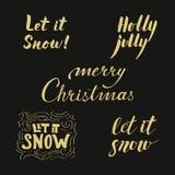 As frases douradas caligráficas ajustaram-se para projetos do cartão ou da bandeira Imagem de Stock Royalty Free