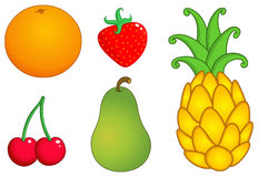 As frutas ajustaram 1 Foto de Stock Royalty Free