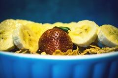 As frutas e legumes no alimento e no colesterol saudáveis do fundo azul fazem dieta o conceito Comer limpo, fazendo dieta, desint Fotos de Stock Royalty Free