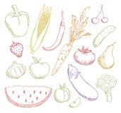 As frutas e verdura coloridos ajustaram-se Fotografia de Stock Royalty Free