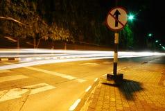 As fugas da luz na estrada Foto de Stock Royalty Free