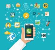 As funções de Smartphone projetam horizontalmente Fotografia de Stock Royalty Free