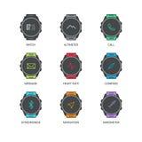 As funções espertas do relógio diluem a linha ícones ajustados Fotografia de Stock
