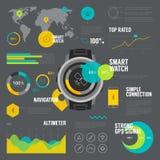 As funções espertas do relógio diluem a linha ícones ajustados Foto de Stock