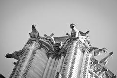 Gárgulas no Notre Dame de Paris fotografia de stock