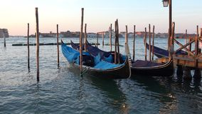 As gôndola no cais em San Marco latem, manhã de setembro Veneza, Italy filme
