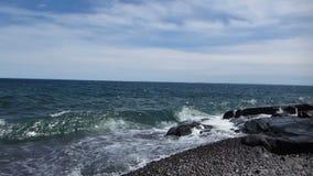 As gaivotas voam sobre o Lago Superior vídeos de arquivo
