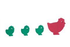As galinhas e a galinha do brinquedo Fotografia de Stock