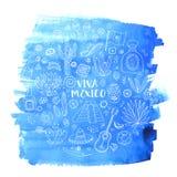 As garatujas ajustaram-se de México no fundo azul da aquarela ilustração do vetor