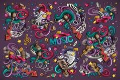 As garatujas do vetor ajustaram-se de combinações da música de objetos Fotografia de Stock Royalty Free