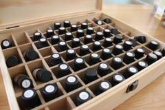 As garrafas da terapia do óleo fecham-se acima Foto de Stock