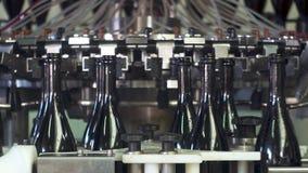 As garrafas de Champagne na correia transportadora da fábrica, lavam garrafas para engarrafar vídeos de arquivo