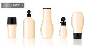 As garrafas de creme ajustaram a ilustração do fundo Imagens de Stock Royalty Free