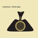 As garrafas de perfume em um fundo claro enegrecem o vetor do teste padrão do ouro da decoração Fotos de Stock