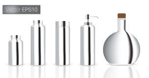 As garrafas de vidro do metal de prata ajustaram a ilustração do fundo Fotos de Stock