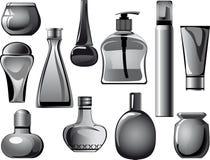 As garrafas, frascos, recipientes, câmaras de ar do corpo importam-se o produ Foto de Stock