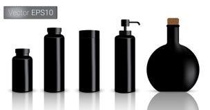 As garrafas pretas ajustaram a ilustração do fundo Imagens de Stock Royalty Free