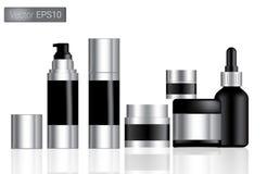 As garrafas pretas cosméticas ajustaram a ilustração do fundo Fotos de Stock Royalty Free