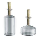As garrafas químicas vazias com tampões isolaram o modelo 3d Fotos de Stock