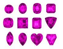 As gemas ajustaram Rodolite no fundo branco Fotos de Stock