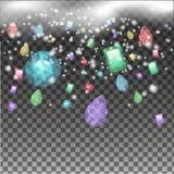 As gemas de cores brilhantes caíram do céu Imagens de Stock