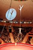 As ginastas executam truques inimagináveis sob a abóbada do circo Imagens de Stock