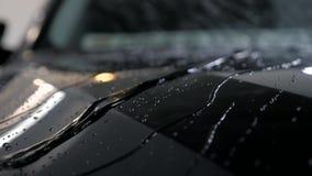As gotas da água fluem em um veículo preto após a lavagem de carros