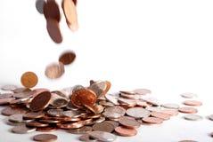 As gotas da moeda de um centavo Imagem de Stock Royalty Free