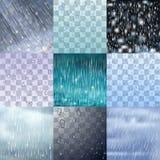 As gotas diferentes da chuva e as linhas chuvosas fundo vector a ilustração do pingo de chuva da água Foto de Stock