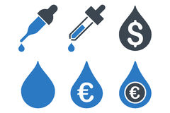 As gotas fixam o preço de ícones lisos do Glyph Imagem de Stock