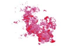 As gotas manchados de tinta, tinta vermelha aparafusam, pintura O volume efetua a tinta na água ou em emanações maciças no ar Vfx ilustração royalty free